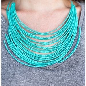 Blue necklace/earrings paparazzi seed bead